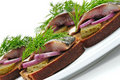Sandwiches of rye bread with herring, Stock Photos