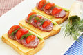 Sandwiches with salami cheese cherry tomato and dill on plate Royalty Free Stock Image