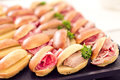 Sandwiches (salami, cheese, fois gras, ham) Stock Images