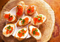 Sandwiches with salmon red caviar Royalty Free Stock Photo
