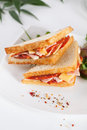 Sandwiches with sausage and cheese on a plate close up Royalty Free Stock Images