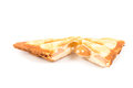 Sandwiches sausage cheese on a white background Royalty Free Stock Images