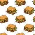 Sandwiches seamless pattern