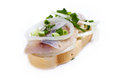 Sandwiches of white bread with herring onions and herbs on background Royalty Free Stock Photos