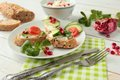 Sandwiches with white cheese and fresh vegetables Royalty Free Stock Photos