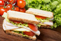 Sandwiches on wooden table with chicken breast salad cheese and tomatoes Stock Photos