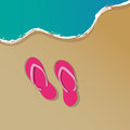 Sandy beach background summer with sand sea and flip flop sandals Stock Image