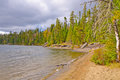 Sandy Beach on a North Woods Lake Royalty Free Stock Photo