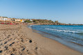 Sandy beach of Paleochora town at western part of Crete island, Greece Royalty Free Stock Photo