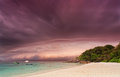 Sandy beach sunset thunder storm thailand Royalty Free Stock Images