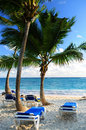 Sandy beach of tropical resort Royalty Free Stock Images