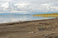 Sandy beaches lake lama kilometers to east norilsk western part lake lama Stock Photo