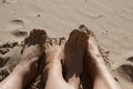 Sandy feet Images stock