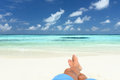 Sandy feet on the beach male a unspoilt maldives Stock Photography