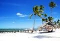 Sandy tropical beach Bavaro, Punta Cana, Dominican Republic Royalty Free Stock Photo