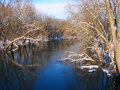 Sangamon river in central illinois under a brilliant blue sky Stock Photo