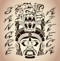 Sangre azteca aztec blood aztec pride spanish text tattoo design Royalty Free Stock Photo