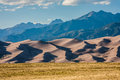Sangre de cristo mountains behind the great sand dunes late afternoon contours of in san luis valley near alamosa colorado Stock Images