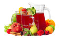 Sangria and fruits Stock Photos