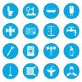 Sanitary engineering icon blue