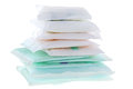 Sanitary napkins sanitary towel sanitary pad menstrual pad a pile of different types and sizes of isolated on white Royalty Free Stock Photography