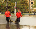Sanitation workers beijing autumn the clearing of Royalty Free Stock Photo