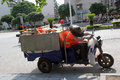 The sanitation workers in guilin are picking up trash on street Stock Images