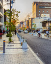 Sanjo dori street in nara japan november leads people to unesco world heritage sites mixed with old shrines modern architectures Stock Photos