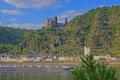 Sankt goarshausen on the middle rhine with burg katz Royalty Free Stock Images