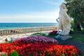 Sanremo italian riviera statua della primavera promenade and Stock Photo