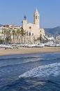 Sant Bartomeu i Santa Tecla at Sitges, Spain Royalty Free Stock Image