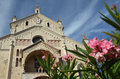 Sant elena church in verona italy with a pink flower foreground Stock Image