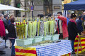 Sant jordi day in catalonia diada de or saint george s a famous catalan celebration on april barcelona spain traditionally men Royalty Free Stock Photography