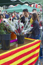 Sant jordi day in catalonia diada de or saint george s a famous catalan celebration on april barcelona spain traditionally men Royalty Free Stock Image