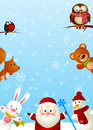 Santa with animals funny cute Royalty Free Stock Photography