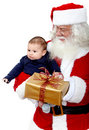 Santa with a baby Stock Photo