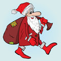 Santa with bag Arkivbild