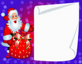Santa with bag and clean paper for invitation Stock Photo