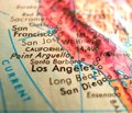 Santa Barbara California map USA  focus macro shot on globe for travel blogs, social media, web banners and backgrounds. Royalty Free Stock Photo