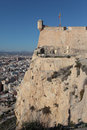 Santa barbara castle in alicante spain over city Royalty Free Stock Photography