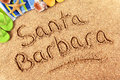 Santa Barbara beach sign sand writing Royalty Free Stock Photo