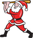 Santa baseball player batting isolated cartoon illustration of as batter hitter with bat done in style on white background Stock Photography