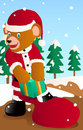 Santa bear pick up the gift box out from bag Royalty Free Stock Photos