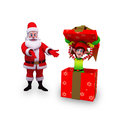 Santa with big gift box and elves Stock Image