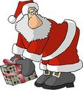 Santa with a big nose and a wrapped gift Stock Images