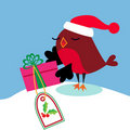 Santa bird christmas gift Stock Image