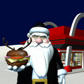Santa In Black - Reindeer Burger 2 Stock Image