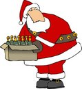 Santa with a box of wine bottles Royalty Free Stock Photos