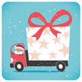 Santa bringing gift no transparency and gradients used Royalty Free Stock Photos