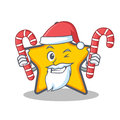 Santa with candy star character cartoon style